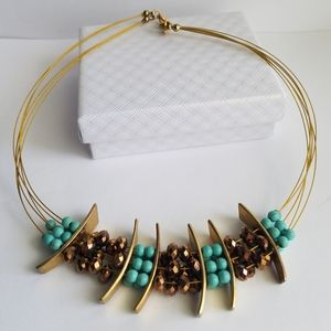 Crystal & Turquoise Necklace - Handmade
